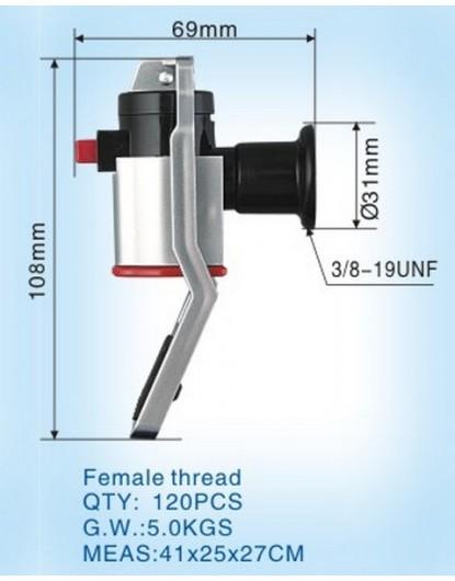 Кранче за диспенсър с долно натискане и вътрешна резба (червено) W-33