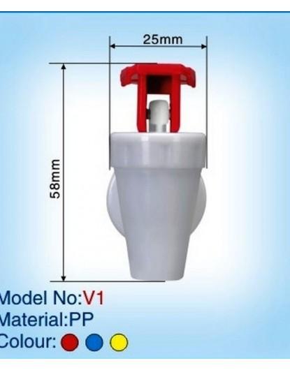 Кранче за диспенсър с горно натискане и вътрешна резба (червено) V-1